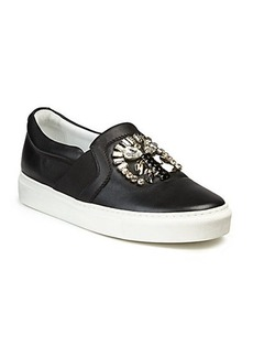 Lanvin Bejeweled Leather Skate Sneakers