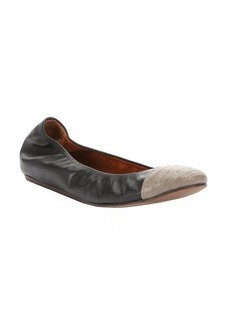 Lanvin black and grey leather captoe ballerina flats