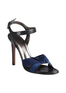 Lanvin black and navy grosgrain ribbon heeled sandals