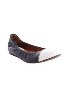 Lanvin black and white leather cap toe ballet flats