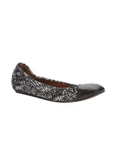 Lanvin black and white textured fabric ballet flats