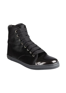 Lanvin black calf hair and patent leather hi-top sneakers