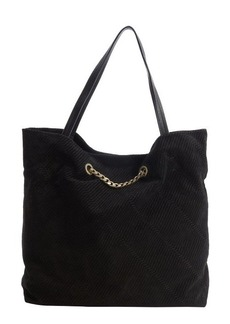 Lanvin black diagonally stitched suede 'Carry Me' bag