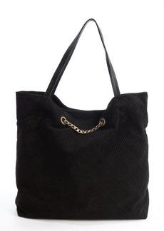 Lanvin black diagonally stitched suede 'Carry Me' bag