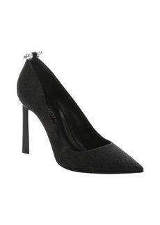 Lanvin black glittery and textured goatskin pearl detail pumps