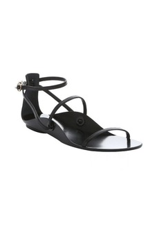 Lanvin black lambskin leather ankle strap sandals