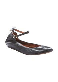 Lanvin black leather ankle strap ballerina flats