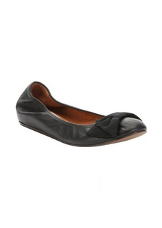 Lanvin black leather bow detail ballerina flats