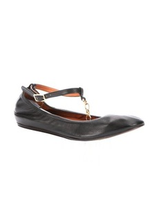 Lanvin black leather chainlink t-strap ballet flats