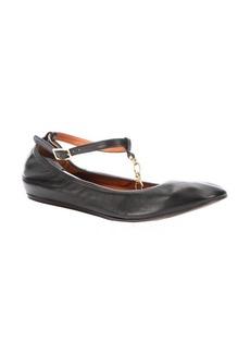 Lanvin black leather chainlink t-strap ballet flats