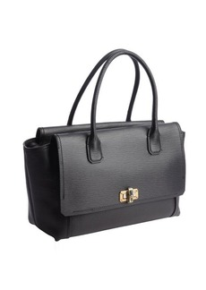 Lanvin black leather gold clasp top handle tote bag
