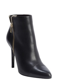 Lanvin black leather gold corner side zip heel booties