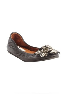 Lanvin black leather jewel embellished flower ballet flats