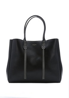 Lanvin black leather logo print chain detail top handle tote