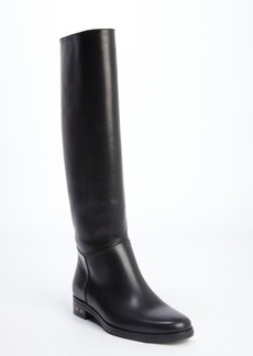 Lanvin black leather screw heel riding boots