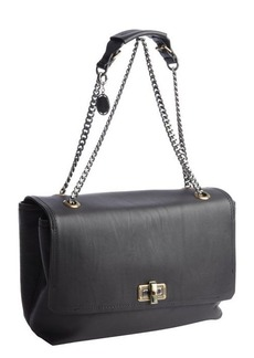 Lanvin black leather silver braided chain shoulder bag