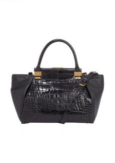 Lanvin black leather 'Trilogy' croc-embossed accent convertible top handle tote