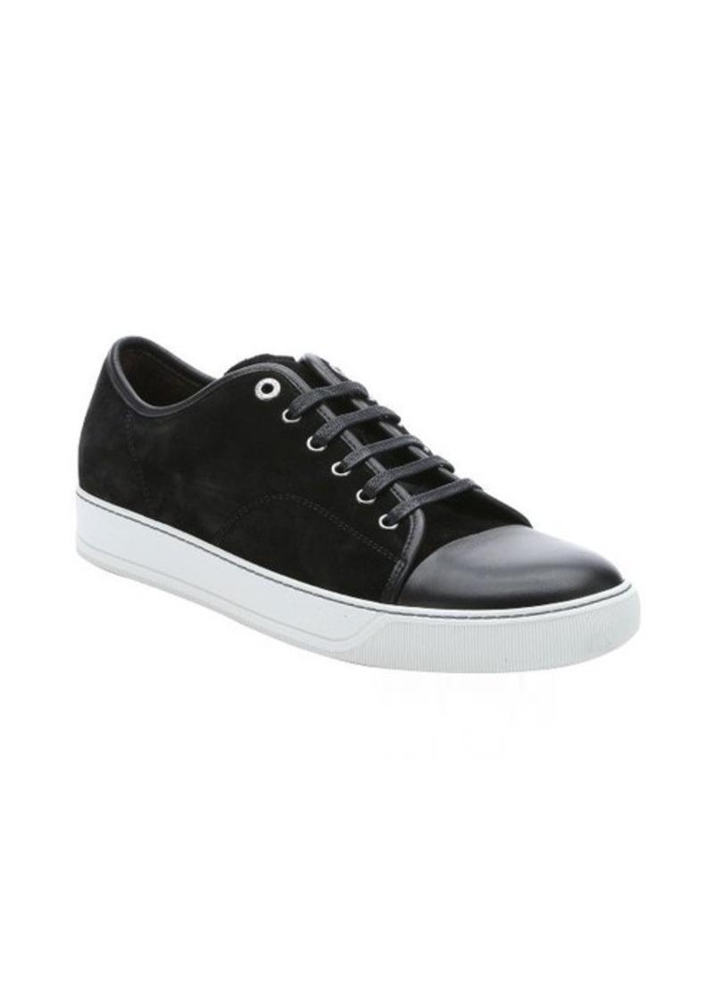 lanvin lanvin black leather trimmed suede lace up cap toe
