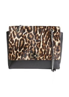 Lanvin black leopard printed pony hair and leather medium 'Happy' shoulder bag