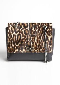 Lanvin black leopard printed pony hair and leather medium 'Happy' shoulder bag