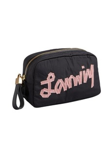 Lanvin black logo nylon cosmetic case