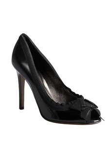 Lanvin black patent leather grosgrain trimmed pumps