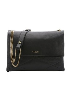 Lanvin black quilted leather chainlink medium shoulder bag