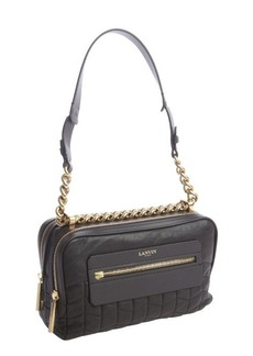 Lanvin black quilted leather double zip shoulder bag