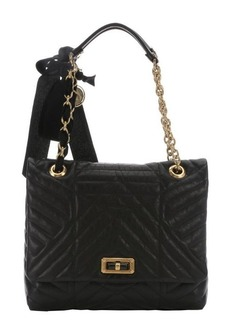 Lanvin black quilted leather 'Happy' medium shoulder bag
