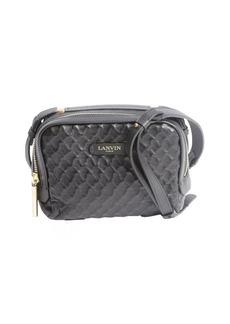 Lanvin black quilted leather logo stamp convertible shoulder bag