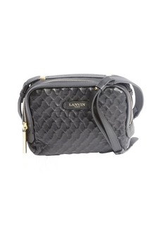 Lanvin black quilted leather logo stamp convertible shoulder bag