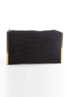 Lanvin black quilted suede goldtone side bar 'Private' clutch