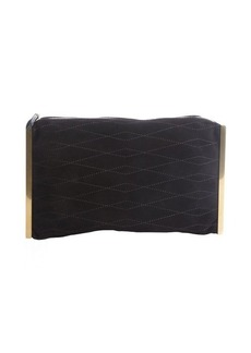 Lanvin black quilted suede goldtone side bar 'Private' clutch
