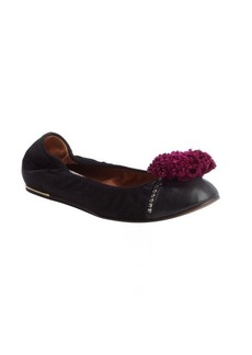 Lanvin black satin flower detail ballet flats