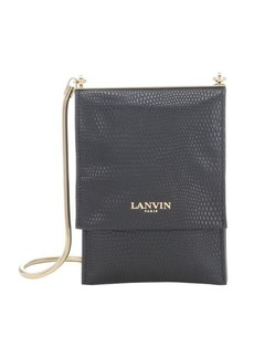 Lanvin black snake embossed leather mini shoulder bag