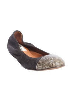 Lanvin black suede cap toe ballet flats