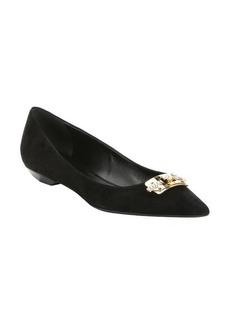 Lanvin black suede crystal buckle detail ballerina flats