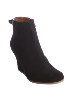 Lanvin black suede side zip wedge heel booties
