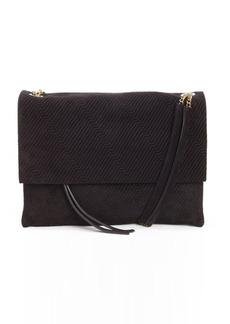 Lanvin black suede stitch detail petite shoulder bag