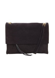 Lanvin black suede stitch detail petite shoulder bag