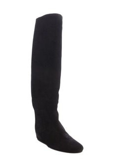 Lanvin black suede wedge tall boots