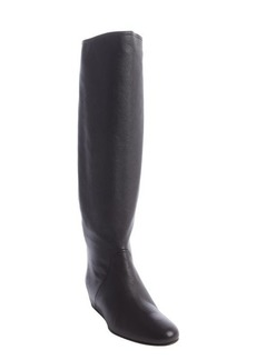 Lanvin black worn leather wedge heel boots