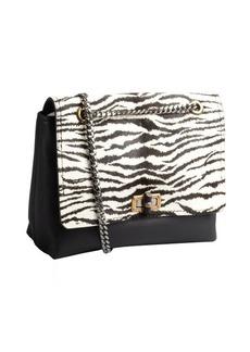 Lanvin black zebra printed pony hair and leather medium 'Happy' shoulder bag