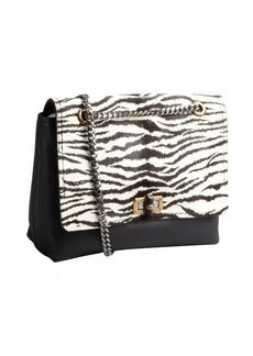 Lanvin black zebra printed pony hair and leather medium 'Happy' shoulder bag