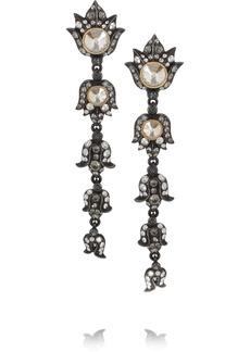 Lanvin Blanche gunmetal-tone Swarovski crystal clip earrings