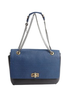 Lanvin blue and black leather chainlink 'Happy' bag