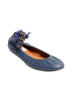 Lanvin blue leather chainlink anklestrap ballet flats