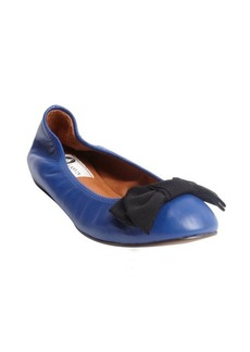 Lanvin blue marine bow detail leather ballerina flats