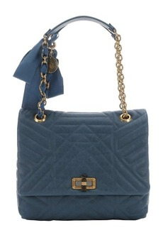 Lanvin blue quilted leather 'Happy' medium shoulder bag