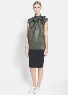 Lanvin Bow Detail Faux Leather Top